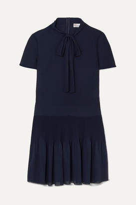 RED Valentino Pussy-bow Pleated Georgette Mini Dress - Midnight blue
