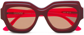 Ganni Square-frame Two-tone Acetate Sunglasses