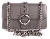 Pinko Women's Grey Leather Shoulder Bag.