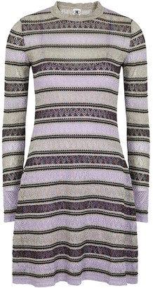 M Missoni Striped metallic-knit mini dress