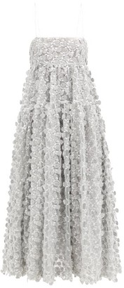Cecilie Bahnsen Lucy Open-back Floral-embroidered Tulle Dress - Silver