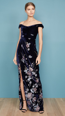 Marchesa Off the Shoulder Velvet Embroidered Gown