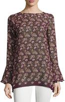 Max Studio Floral-Print Long-Sleeve Top, Royal Purple/Army