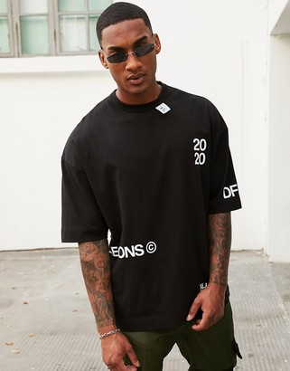 ASOS Dark Future oversized t-shirt with text placement and neck tab detail in black