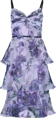 Marchesa Notte Floral Tier Tea Length Dress
