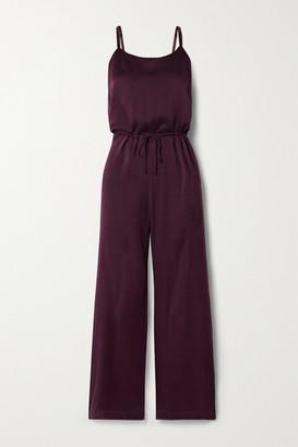 Skin Tiffany Washed Silk-blend Charmeuse Jumpsuit - Burgundy