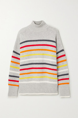 La Ligne Marin Striped Wool And Cashmere-blend Turtleneck Sweater - Gray