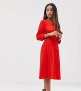 Y.A.S Petite v neck midi dress with elasticated waist