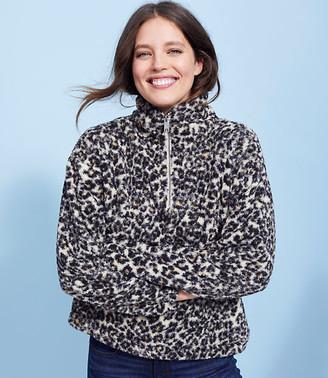 LOFT Leopard Print Sherpa Zip Sweatshirt
