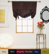 Chocolate Rod Pocket Thermal Insulated Blackout Tie Up Shade Curtain, 46 Inch Wide By 64 Inch Long Panel