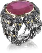 Bernard Delettrez Skulls and Snakes Black Ring w/Glass-treated Ruby