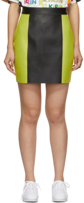 Kirin Black and Yellow Colorblocked Leather Miniskirt