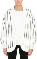 Laneus White And Black Angora Wool Blend Cardigan