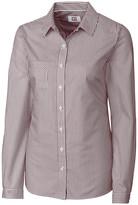 Cutter & Buck Women's Button Down Shirts BRD - Burgundy & White Stripe Epic Easy Care Button-Up - Women & Plus