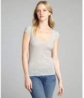 American Vintage heather grey ribbed cotton scoop neck t-shirt