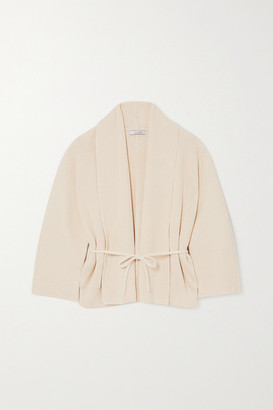 LE 17 SEPTEMBRE Belted Ribbed Cotton Cardigan - Ecru