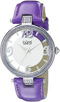 Burgi Women's BUR150PU Silver Quartz Watch with Swarovski Crystal Accents and See Thru Dial With Purple Leather Strap