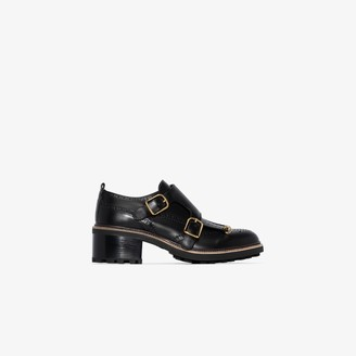 Chloé Black 55 Double Buckle Leather Loafers
