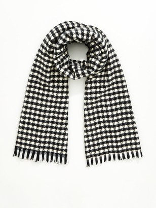Very Dogtooth Check Scarf - Black White