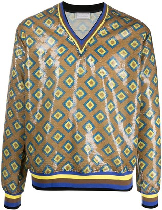 Pierre Louis Mascia Kurt geometric sequinned sweatshirt