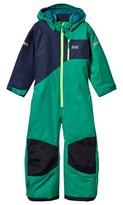 Helly Hansen Green and Navy Kids Powder Ski Suit