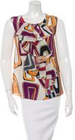 M Missoni Abstract Printed Ruffle Sleeveless Blouse