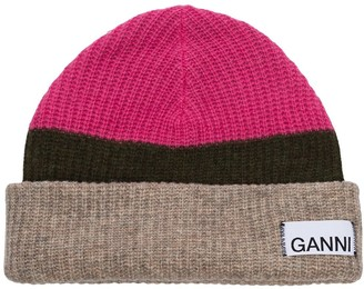 Ganni Panelled Logo Patch Knit Beanie