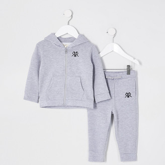 River Island Mini Boys grey marl zip up hoodie outfit