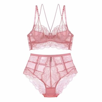 Ningsige New French Style Sexy Ultra-Thin Floral Lace Underwear Unlined Beauty Back Bra Sets (N694