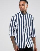 Asos Regular Fit Breton Stripe Shirt In Navy