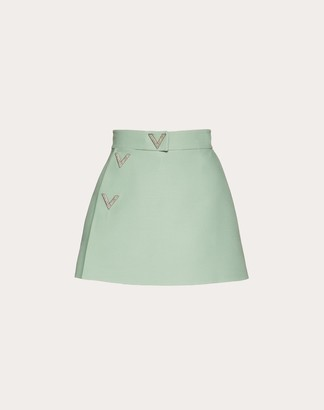 Valentino Crepe Couture And V Pave Culottes Women Aquamarine Virgin Wool 65%, Silk 35% 36