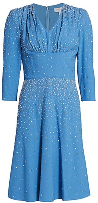Michael Kors Embellished Studded Fit-&-Flare Dress