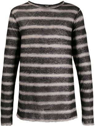 Balmain striped raw edge T-shirt