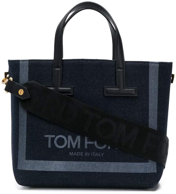 Tom Ford logo print denim tote