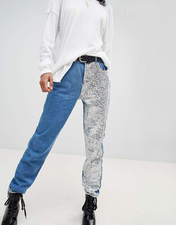 Noisy May Straight Leg Sequin Jeans