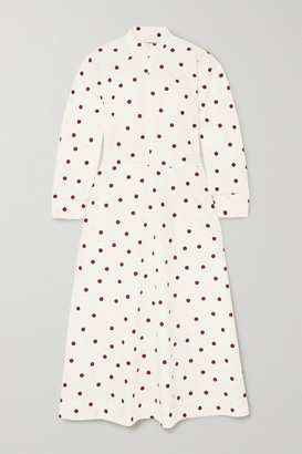 Ganni Polka-dot Cotton-poplin Maxi Dress - Ivory
