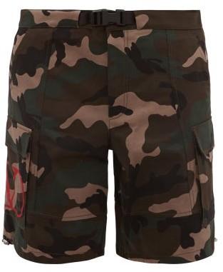 Valentino V-logo Camouflage-print Cotton-twill Shorts - Mens - Khaki