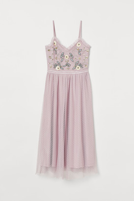 H&M Embroidered mesh dress