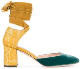 Rochas velvet ankle tie heels
