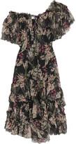 Zimmermann Curacao Off-the-shoulder Printed Crinkled Silk-chiffon Dress - Black