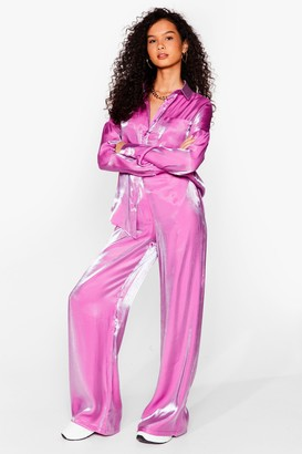Nasty Gal Womens Your Shine is Now Satin Wide-Leg trousers - Purple - 8, Purple