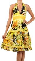 Yellow Floral Halter Dress