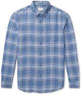 Club Monaco Slim-Fit Button-Down Collar Checked Linen Shirt