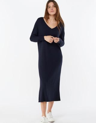 Monsoon Lexi V Neck Longline Dress in Wool Blend Blue