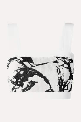 Balmain Cropped Jacquard-knit Top - White