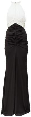 Alexander McQueen Halterneck Ruched Crepe Gown - Black White