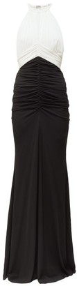 Alexander McQueen Halterneck Ruched Crepe Gown - Womens - Black White