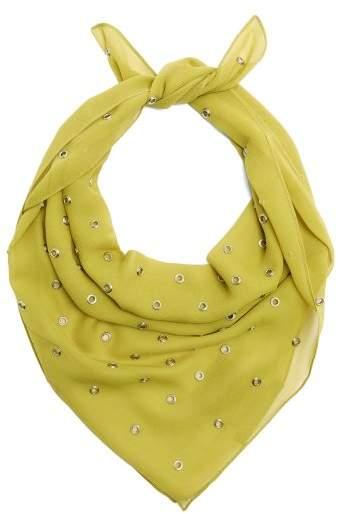 Bottega Veneta Eyelet Embellished Silk Scarf - Womens - Green