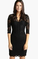Karen Kane Scalloped Lace V-Neck Dress (Regular & Petite)
