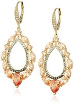 "Judith Jack Color Crush"" Sterling Silver/Swarovski Marcasite Gold-Tone Champagne Open Drop Earrings"
